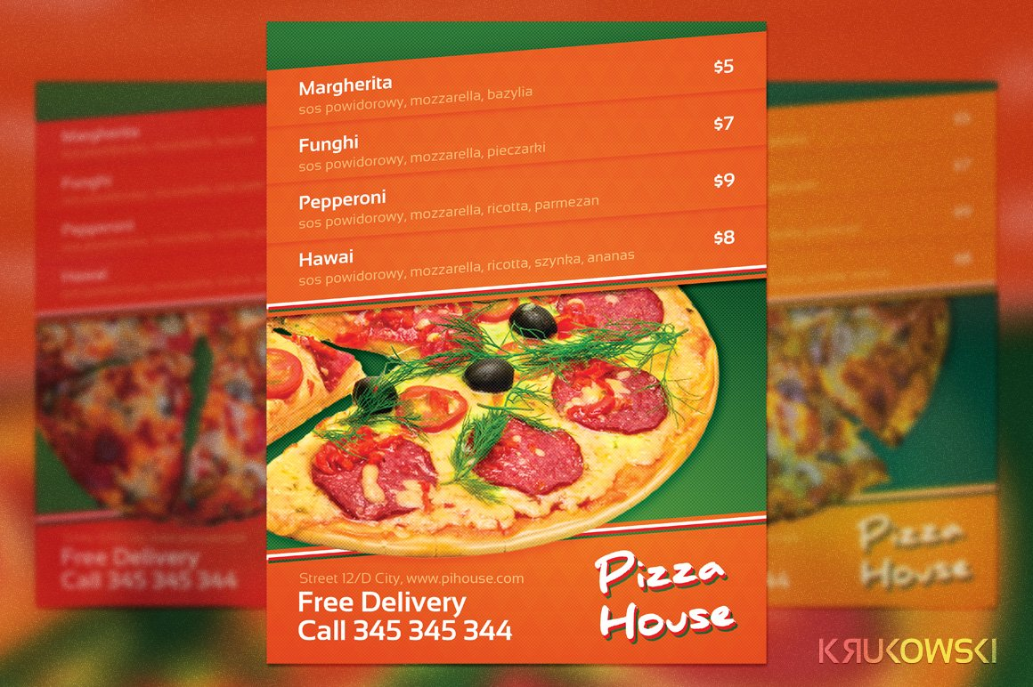 pizza house menu flyer flyer templates creative market