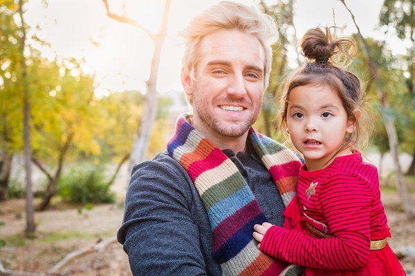 Handsome Caucasian Man with Toddler