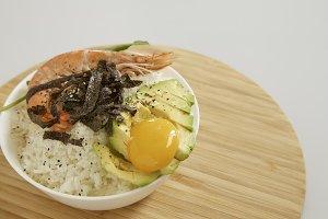 Shrimp Sashimi Rice Poke bowl food
