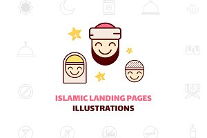 Islamic landing page illustration