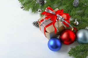 Christmas background with gift box,