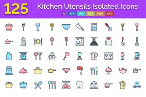 125 Kitchen Utensils Isolated Icons