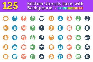125 Kitchen Utensils Icons with BG