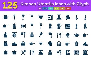 125 Kitchen Utensils Glyph Icons