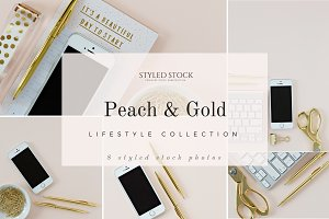 Peach & Gold Styled Photo Bundle