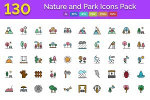 130 Nature & Park Icons Pack
