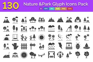 130 Nature & Park Glyph Icons Pack