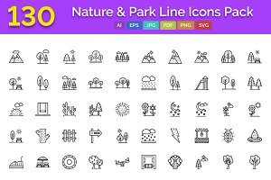 130 Nature & Park Line Icons Pack