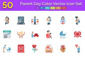 50 Parent Day Color Vector icon Set