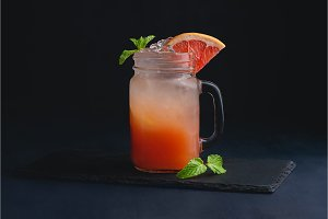 Ice cold citrus cocktail in a