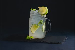 Ice cold classic lime lemonade in a