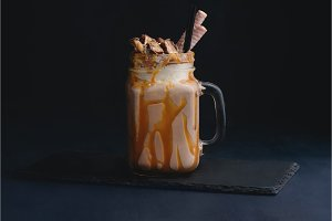 Cold chocolate and caramel milkshake