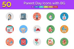 50 Parent Day Icons with BG