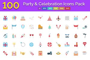 100 Party & Celebration Icons Pack