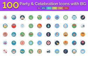 100 Party & Celebration Icons BG