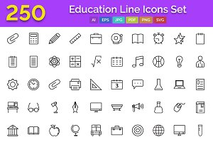 250 Education Line Icons Set