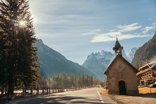 The stretch of road. A little church