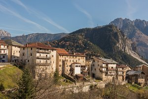 A village in Dolomites among the