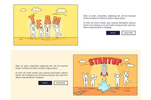 Team and Startup Web Pages Vector
