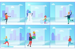 Skaters and Cityscape Set Vector