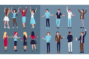 Icon of Dancing People Vector