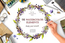 Watercolour elements. Create wreath