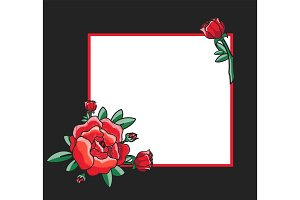 Photo Frame Design with Drawn Red