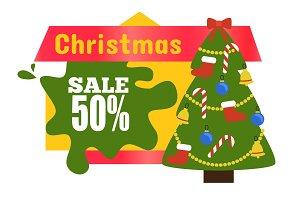 Christmas Sale 50% Sticker Vector