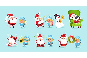 Santa Claus and His Friends Having