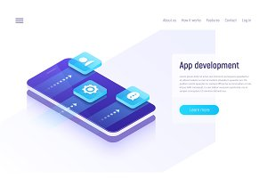 Mobile app development isometric