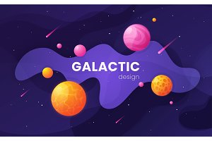 Cartoon galaxy futuristic outer