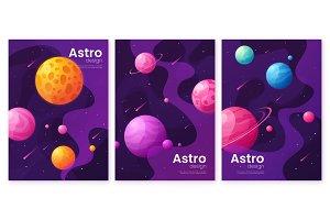 Set of cartoon deep space futuristic