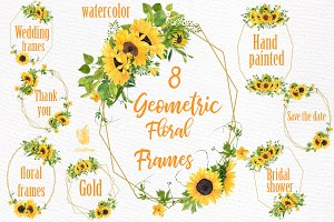 Geometric Sunflower Floral Frames