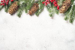 Christmas flatlay with fir tree and