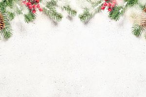 Christmas flatlay background with