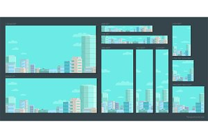 Set of web banners. Panorama city on