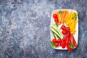 Fresh vegetables stick. Healthy