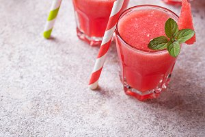 Glasses of watermelon smoothie with