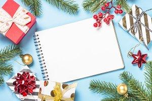 Christmas flatlay background -
