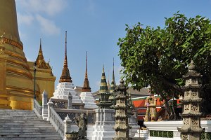 Classic gilded temple - stupa in the