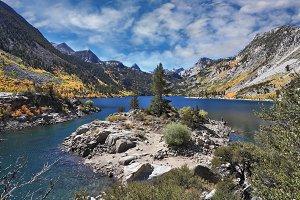 Azure lake in the autumn mountains
