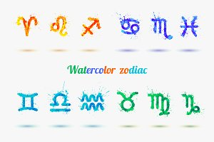 Vector watercolor zodiac