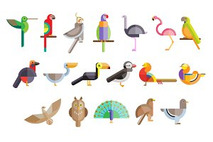 Flat birds made from geometric figur