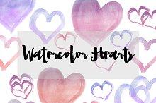 Watercolor Hearts Clipart