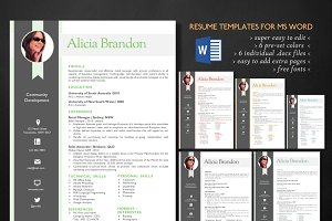 Ribbon photo 2 in 1 Word resume