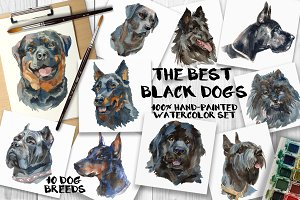 """The best black dogs"" watercolor set"