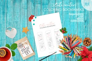 Cute WINTER coloring bookmarks