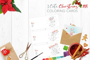 Cute Christmas coloring cards