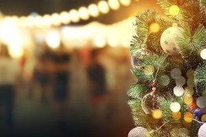 Christmas tree with bokeh light