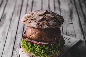 Portobello burger, homemade bun and